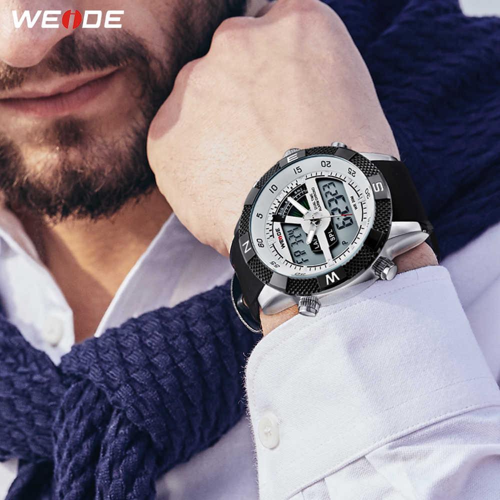 WEIDE אוטומטי תאריך מעורר מרובה אזור זמן הכרונוגרף ספורט גברים למעלה מותג יוקרה קוורץ שעונים Reloj Hombre Relogio Masculino