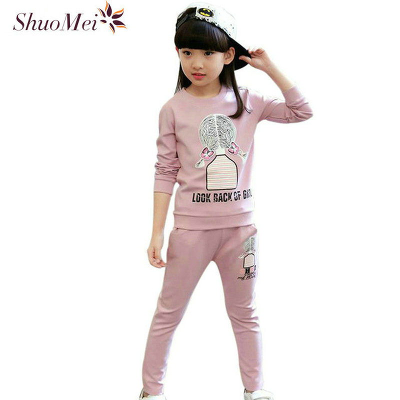 Spring Autumn Style Girls Clothing Set Casual 2pcs Set Kids Sport Suits For Girls 2017 New