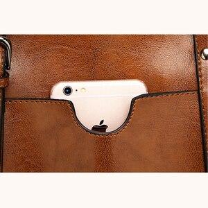 Image 4 - 高級婦人用バッグオイルワックスレザーショルダーバッグ財布ポケットの女性のハンドバッグ女性のメッセンジャーバッグビッグトートバッグbolso feminina
