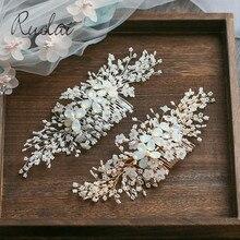 Ruolai, серебряные, золотые свадебные аксессуары для волос, ручная работа, Кристальный гребень для волос, свадебный головной убор, украшения для волос, женский цветочный головной убор HD13