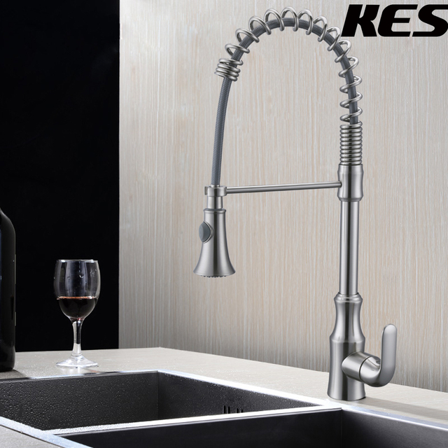 Kes Pull Down Spring Faucet Kitchen Single Handle High Arc Kitchen