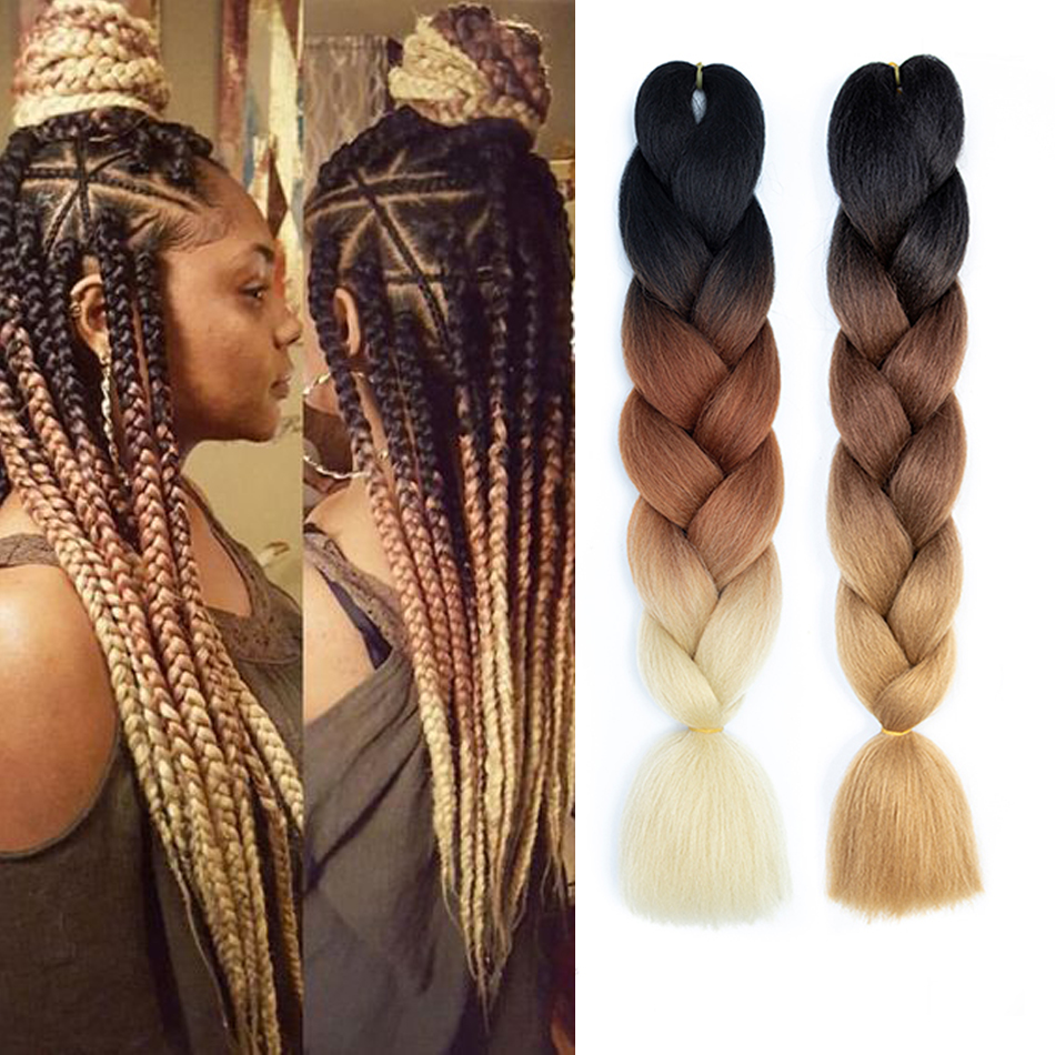 24'' 100g/pc Synthetic Ombre Braiding Hair Crochet Jumbo Braid Hair Extension Pre Stretched White Women Pink Purple Blue Brown