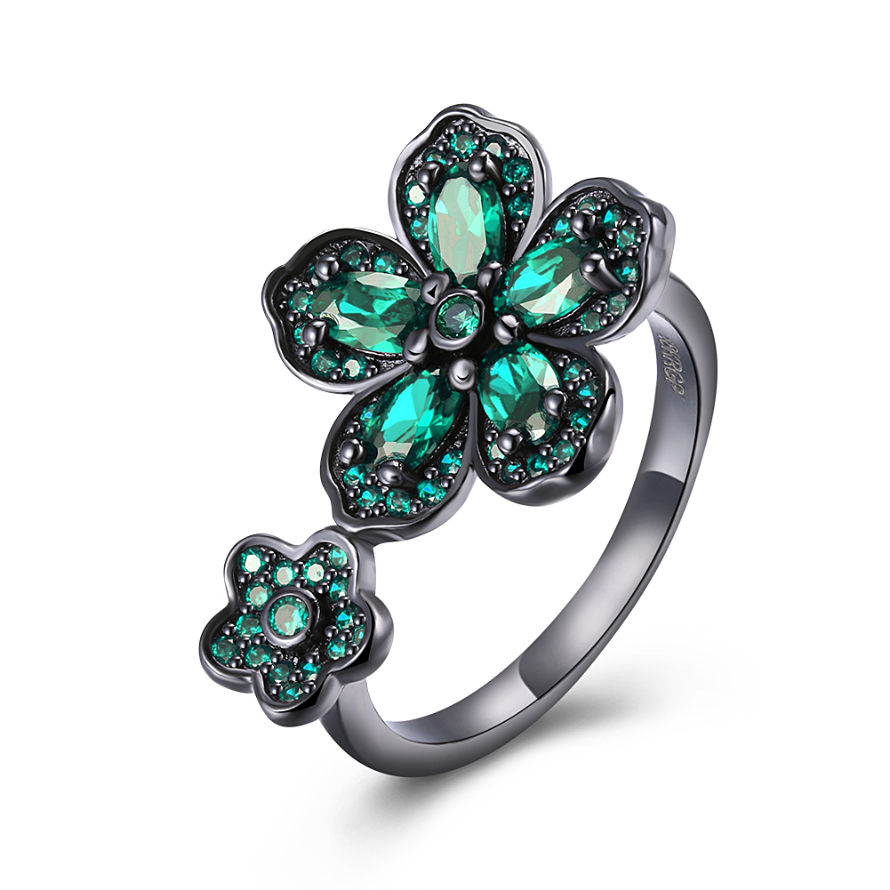 Fashion Flower Shiny Green Ring Red Garnet Women Charming Engagement Jewelry Black Gold Filled Promise Rings Bijoux Femme