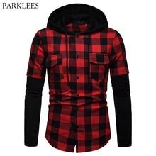 Red Black Plaid Hoodie Shirt Men 2019 Fashion Fake Two Pieces Check Hooded Shirts Mens Hipster Streetwear Shirt With Pockets Xxl