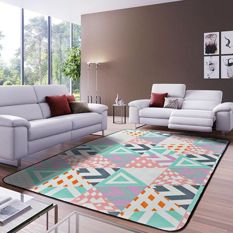 Style européen tapis de zone rectangulaire multicolore luxe motif géométrique tapis antidérapant lavable Durable tapis de zone pour salon - 3