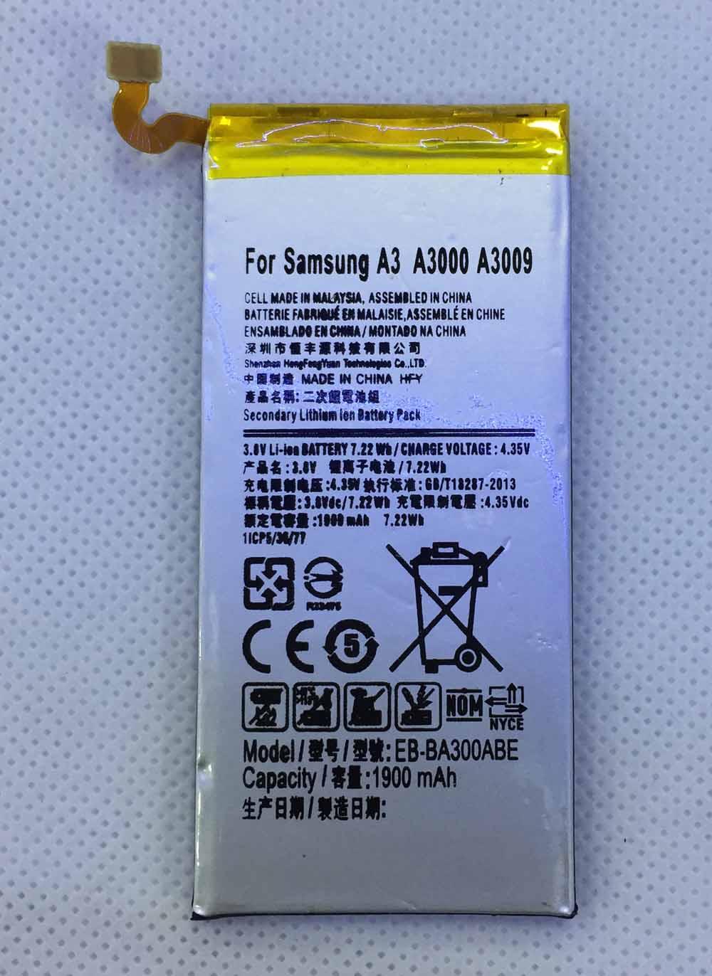 HFY EB-BA300ABE Batterie pour Samsung Galaxy A3 2015 A300 A3000 A300X A300H A300F A3009 A300G/M/FU Batterie EBBA300ABE