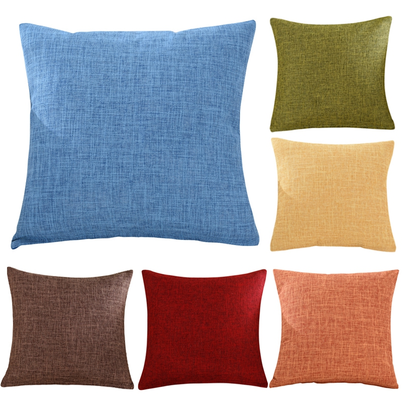 Us 3 63 23 Off Solid Color Decorative Pillows Sofa Cushion Covers Blue Red Orange Black Yellow White Gray Christmas Throw Pillow Cover 45 45cm In