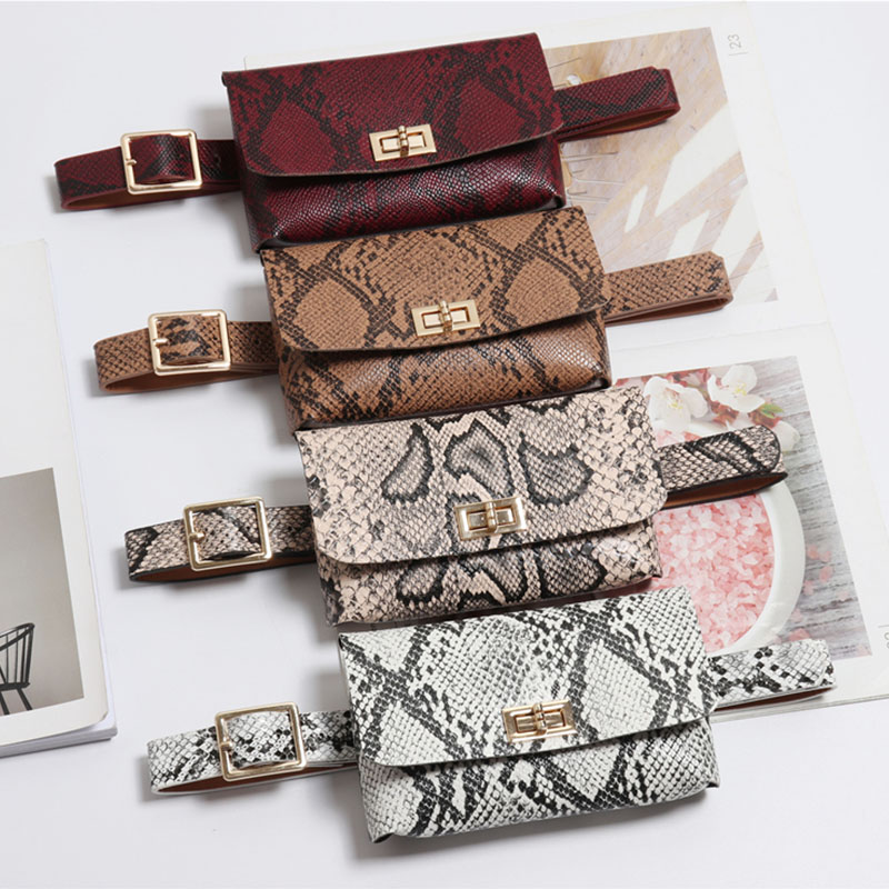 d37051d9eb Fanny Pack Fashion Serpentine Waist Bag Women Leather Waist Pack Vintage  Waist Belt Bags Phone ...