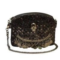 Tide Cool Style Women Skull Rivet Sequined Pendant Bead Piece Single Shoulder Messenger Bags Black Fashion Chains Women Bags