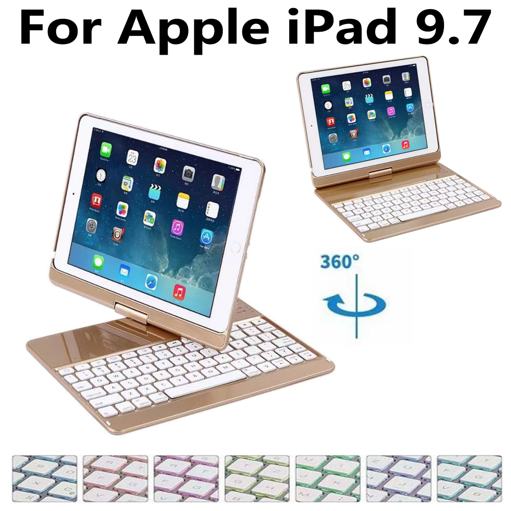 360 Rotating Aluminum Wireless Bluetooth Keyboard Cover Case for Apple iPad 9.7 2018 2017 5th 6th Generation Air 1/Air 2 Pro 9.7