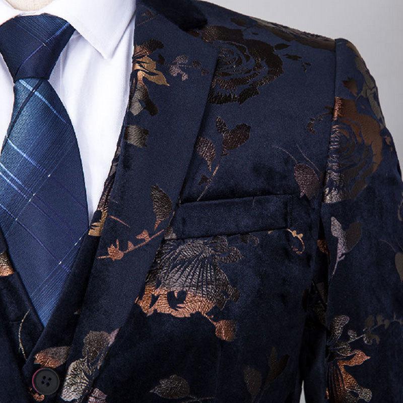 Tela de alta calidad con estampado dorado vestido ajustado para Hombre Trajes para boda traje de 3 piezas para hombre cantante de Club nocturno traje Homme - 5
