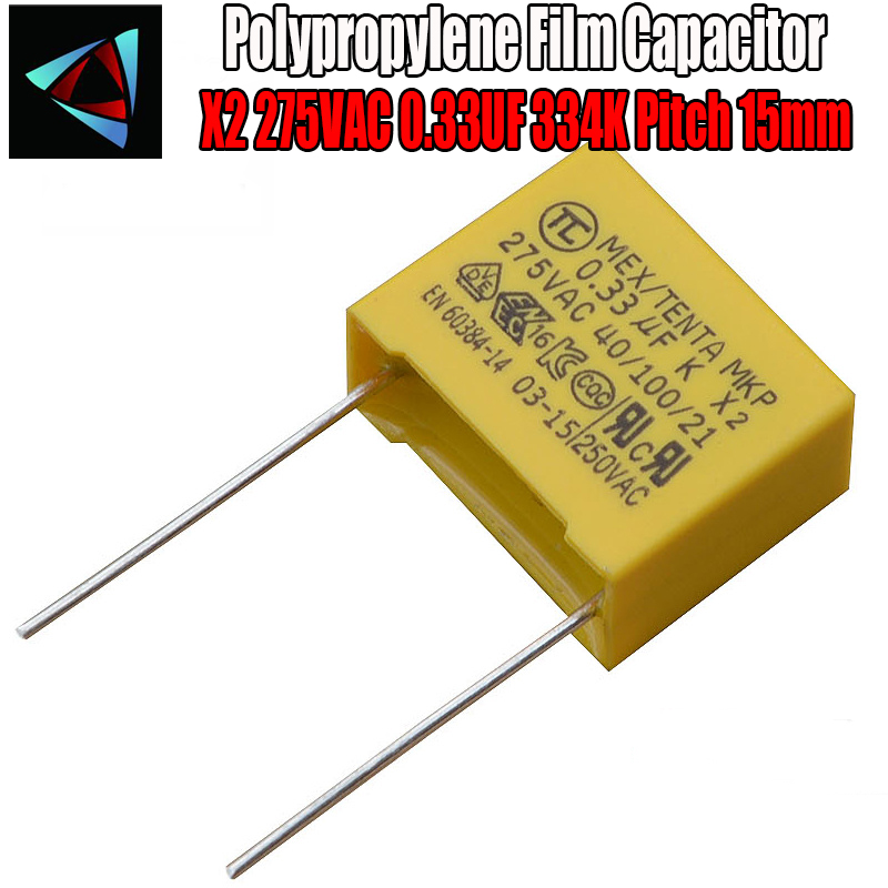 5 Pcs 0.33uF Capacitor X2 Capacitor 275VAC Pitch 15mm X2 Polypropylene Film Capacitor 334K