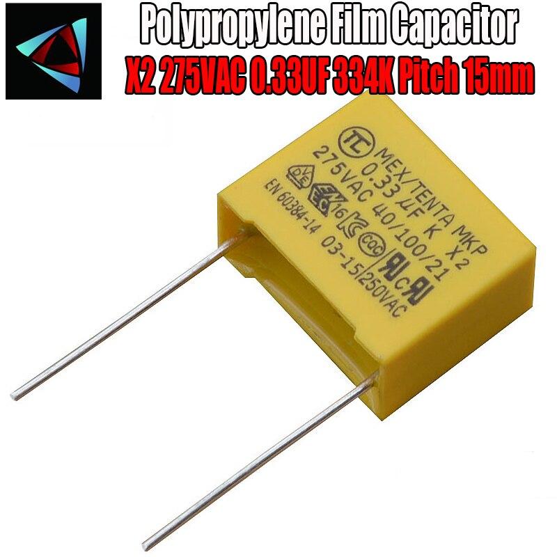 5 Pcs 0.33uF Capacitor X2 Capacitor 275VAC Pitch 15mm X2 Polypropylene Film Capacitor 334K