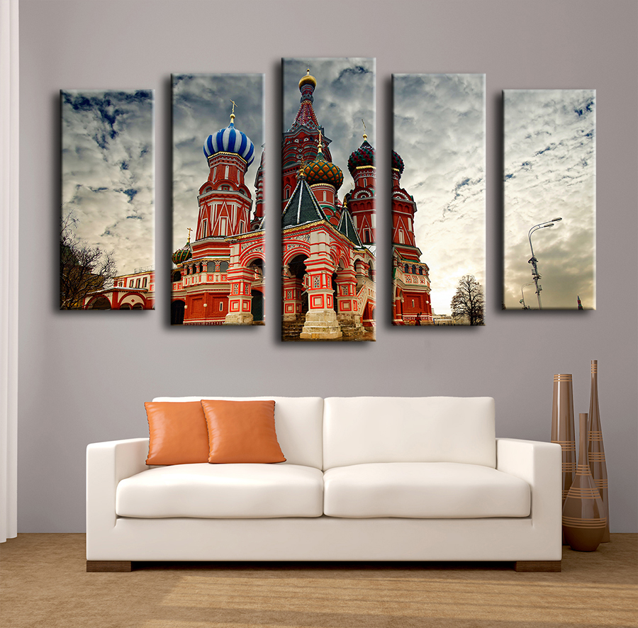 Aliexpress.com : Buy 2017 New Promotion Cuadros Paintings 5pcs Basils  Cathedral Moscow Russia Wall Painting For Home Decor Art Print Canvas,  Picture From ...
