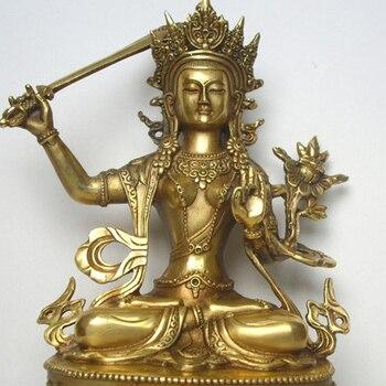 Tibetan Buddhism, Tantra, brass buddha statue, Manjushri Bodhisattva, Manjushri jam dpel, figure, height about 20cm