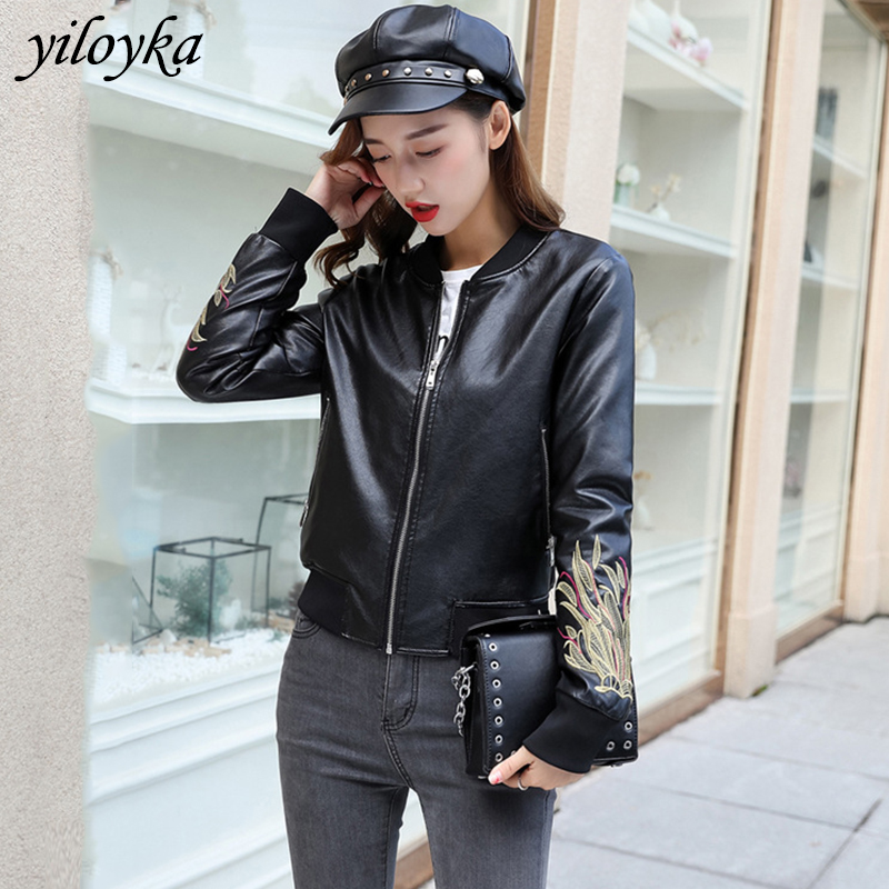 New Embroidery Pu Leather   Jacket   Women Fashion Soft Bomber   Jacket   Motorcycle Coat Faux Leather Biker Cool Outerwear   Basic     Jacket