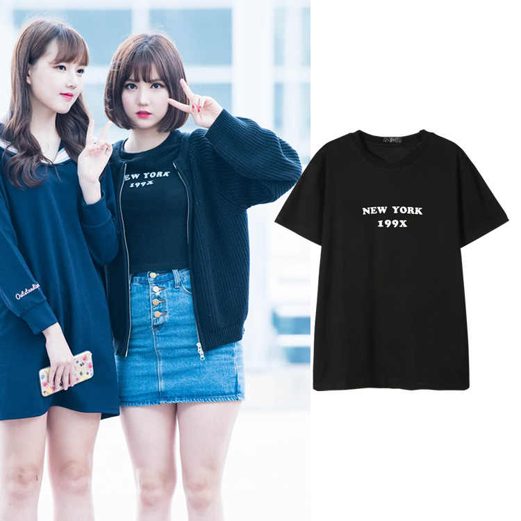 GFRIEND NEW YORK 199X Brief Print Tees Vrouwen Korea Kpop Harajuku Streetwear Cool Fashion Tumblr T-shirt Unisex Kawaii Leuke Tops