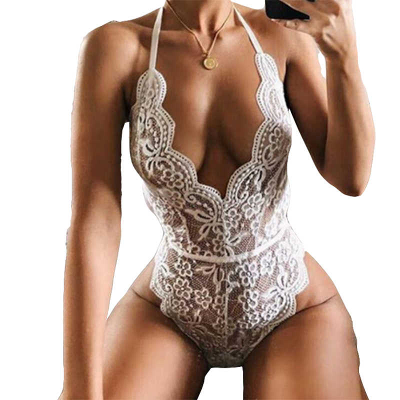 13412af048 White Lace Women Bodysuits Halter Backless Sexy Lady Summer Bodysuit Skinny  Mesh Black Red Rompers Jumpsuit