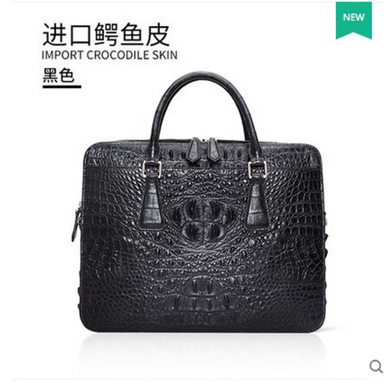 gete Genuine crocodile crocodile bag leather handbag bag Thailand business man Briefcase Bag male bag wire man bag small light horizontal handbag business bag male fashion portable genuine leather briefcase
