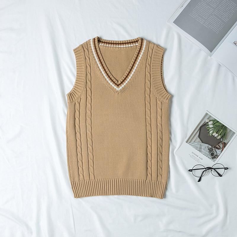 New 2019 Fashion Style Jk School Uniform Vest Sleeveless Pullover Sweater Vest Japanese Uniform Cotton Cosplay Knitwear Sweater