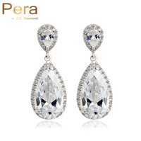 Classic Big Water Drop Design White Gold Plated High Quality Cubic Zirconia Diamond Wedding Bridal Earrings