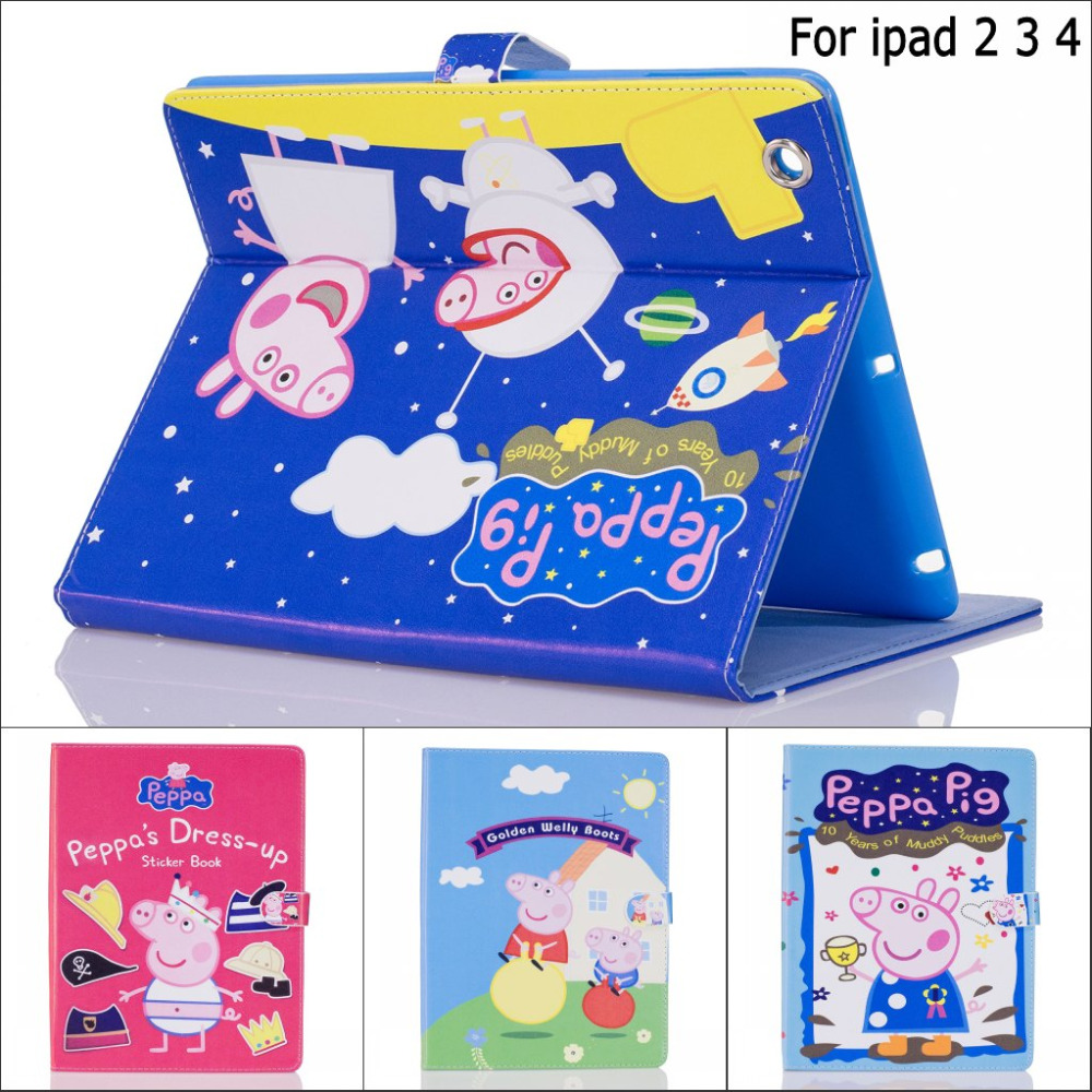 Fashion Cute cartoon Peppa Pig Pu Leather stand holder smart case cover for iPad 2 ipad 3 ipad 4 with screen protector