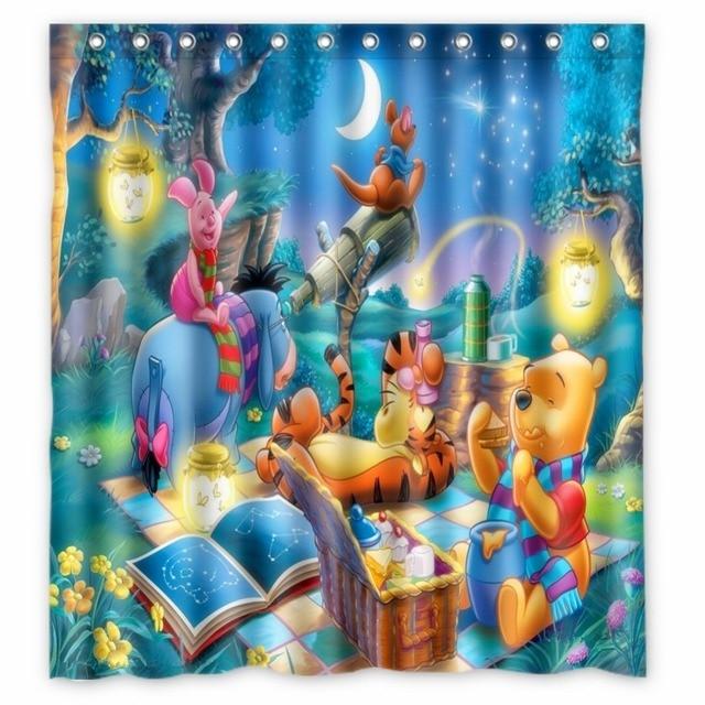 Vixm Home Cartoon Shower Curtains Poohs Heffalump Halloween Movie Bathroom 66x72 Inch