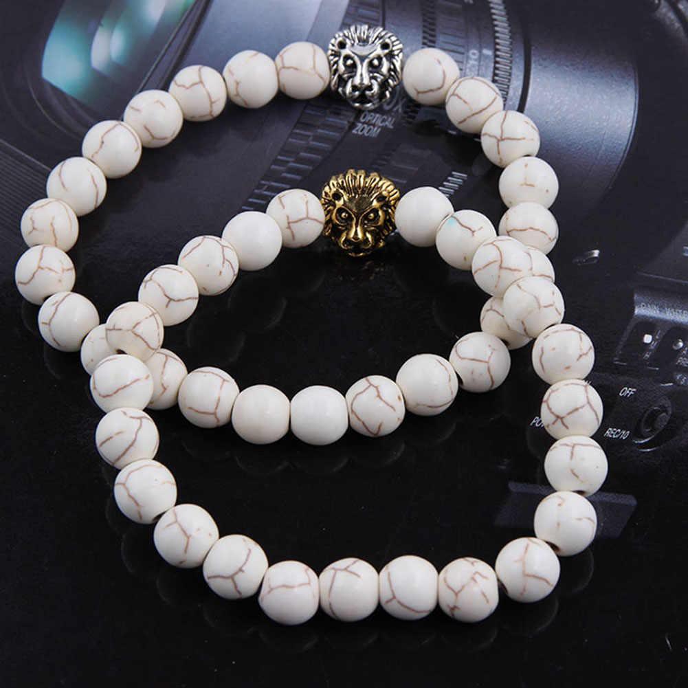 תכשיטים זהב צבע מצופה בודהה האריה ראש צמיד שחור לבה אבן חרוזים צמידי גברים נשים