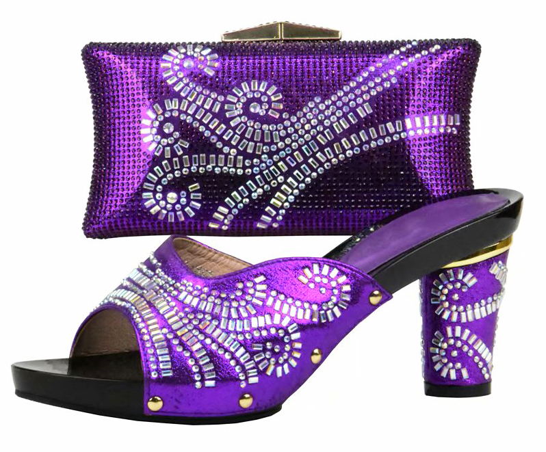 Elegant fashion shoe and bag set matching afrian aso ebi shoes bag set in purple 4 inches shoes bag matching set SB8188-3 cd158 1 free shipping hot sale fashion design shoes and matching bag with glitter item in black