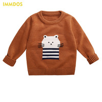 Cute Boys Girls Autumn Winter Sweaters 2017 IMMDOS O Neck Long Sleeve Baby Cartoon Print Clothes