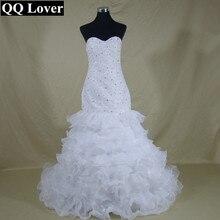 QQ Lover New Ruffles Mermaid Wedding Dresses 2017 Sweetheart Vestido De Noiva Bridal Gown
