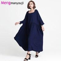 Mengmanyouji Plus Size Marineblauw Jurk Fit 110 KG Herfst Vrouwen Batwing Mouwen Hin Dunne Vierkante Hals Casual Vrouwelijke Oversize jurken