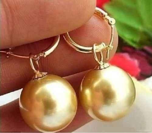 Trasporto libero genuino enorme + + 16mm oro south sea shell orecchino di perla 14 k