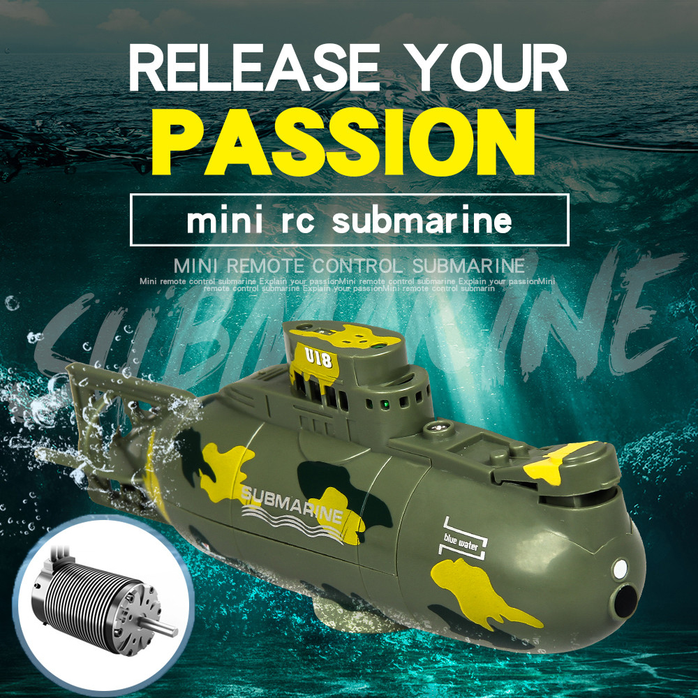 6CH Speed Radio RC Boat Submarine with LED Underwater Remote Control Speedboat Mini Electric boat Children Toys Kids Gift RC Boats     - title=