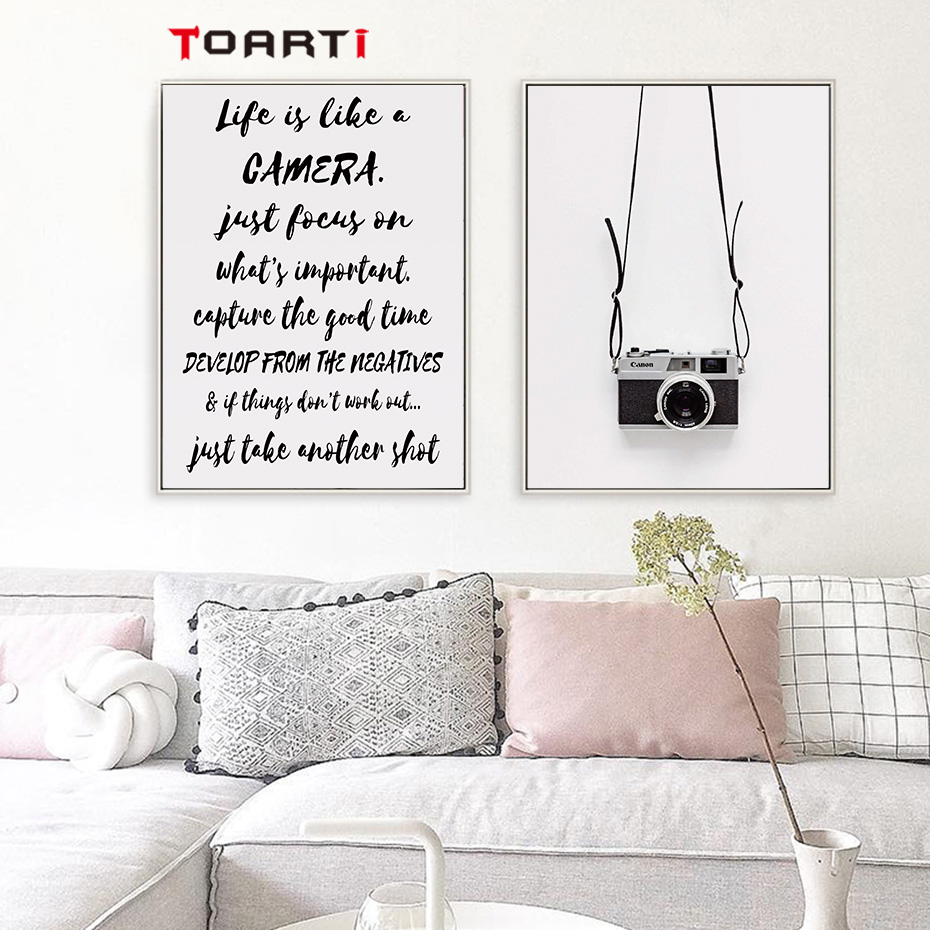 Image 3 - Black Camera Prints Posters Modern Life Quotes Canvas Painting Nordic Letters Wall Art Pictures For Living Room Home Decoration-in Painting & Calligraphy from Home & Garden