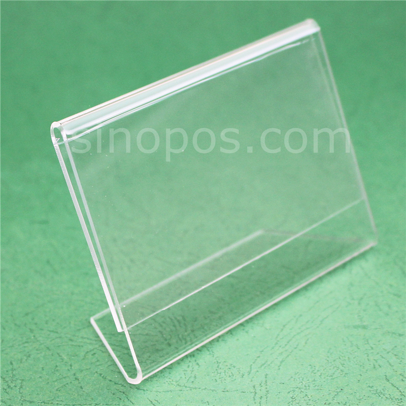 US $12 4 |Quality Acrylic L Display 8x12cm, slanted sign holder shelf  tabletop rack clear glass plastic L shaped frame tag card ticket pop-in  Frame