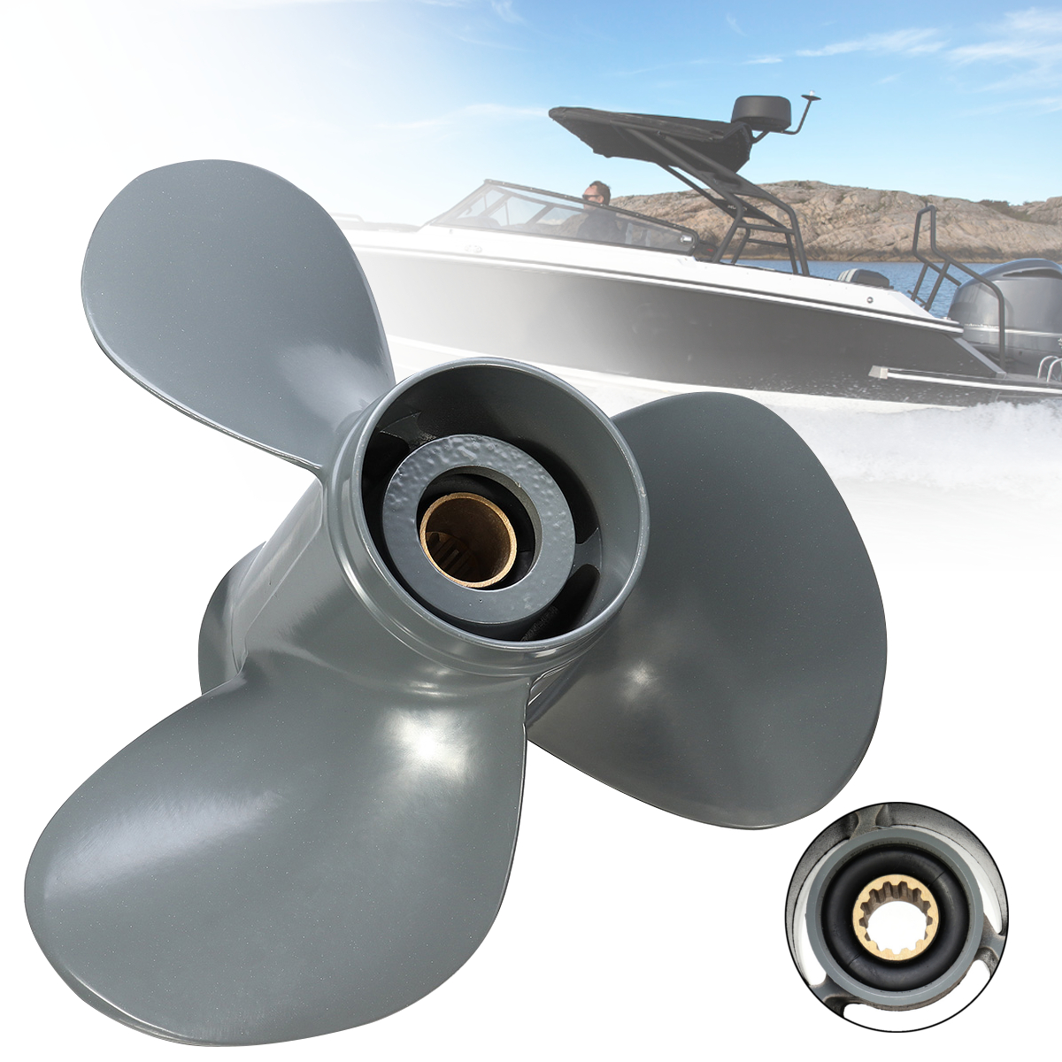 58130-ZV5-012AH 11 1/8 x 13 Boat Propeller For Honda Outboard Engine 35-60HP 13 Spline Tooths 3 Blades Aluminum Alloy Gray цены онлайн