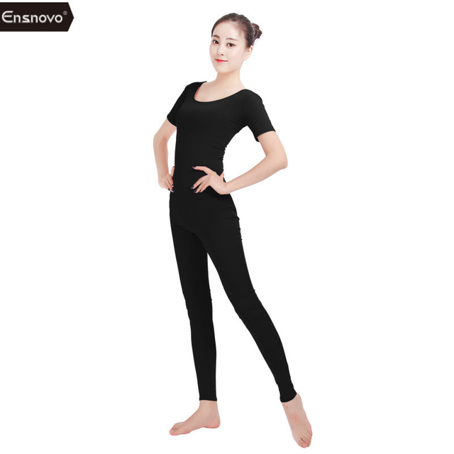 Ensnovo Spandex Unitard Bodysuit Short Sleeve Womens Gymnastic Unitard  Black Dance Costumes Womens Cosplay Jumpsuit Lycra Suit f95d7e3d171a