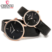 CHENXI Model Style Leather-based Man&Girls Quartz Wristwatch Analog Extremely-thin Watch Case Lovers Couple Watches Delicate Reward Clocks