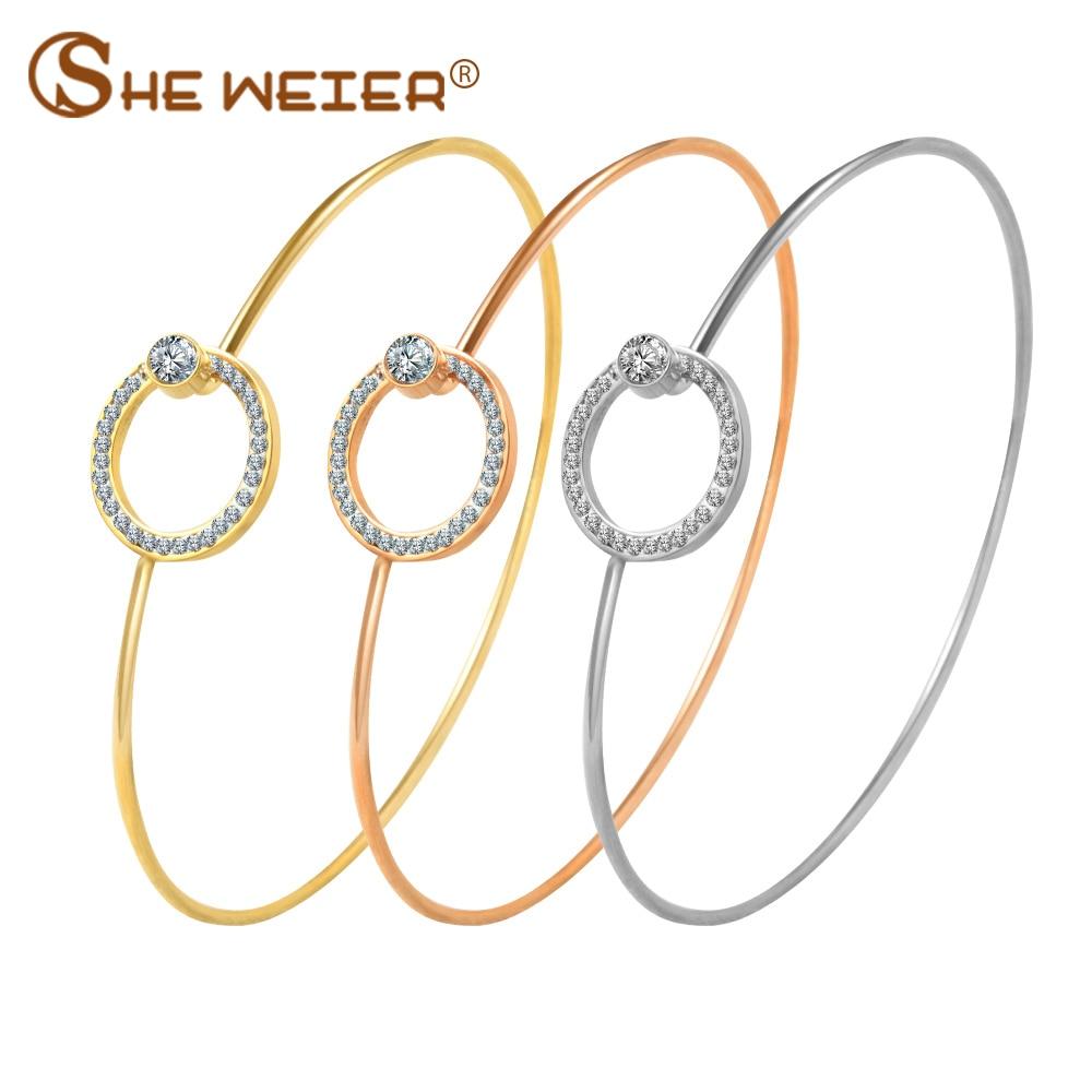 SHE WEIER chain bracelets & bangles stainless steel bracelet women femme charms gifts for girls braslet bizuteria zircon round