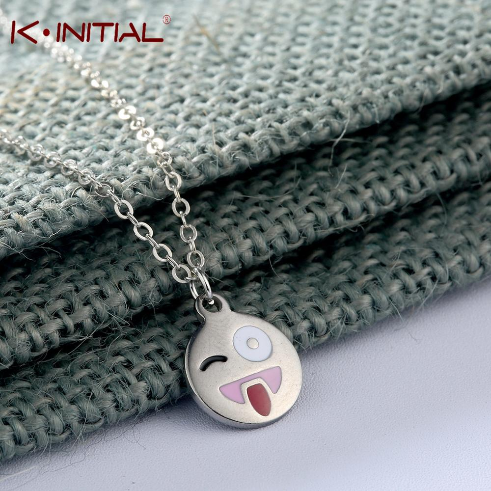 Kinitial NEW Stainless Steel Emoji Naughty Pendants Necklaces Charms Expression Chocker Necklace for Teen Kid Christmas Gift