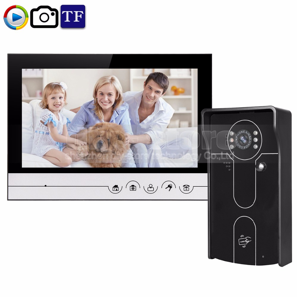 DIYSECUR 9inch Video Record/Photograph Video Door Phone Doorbell Home Security Intercom System RFID Camera IR Night Vision