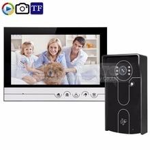 DIYSECUR 9inch Video Record/Photograph Video Door Phone Doorbell Home Security Intercom System RFID Camera IR Night Vision