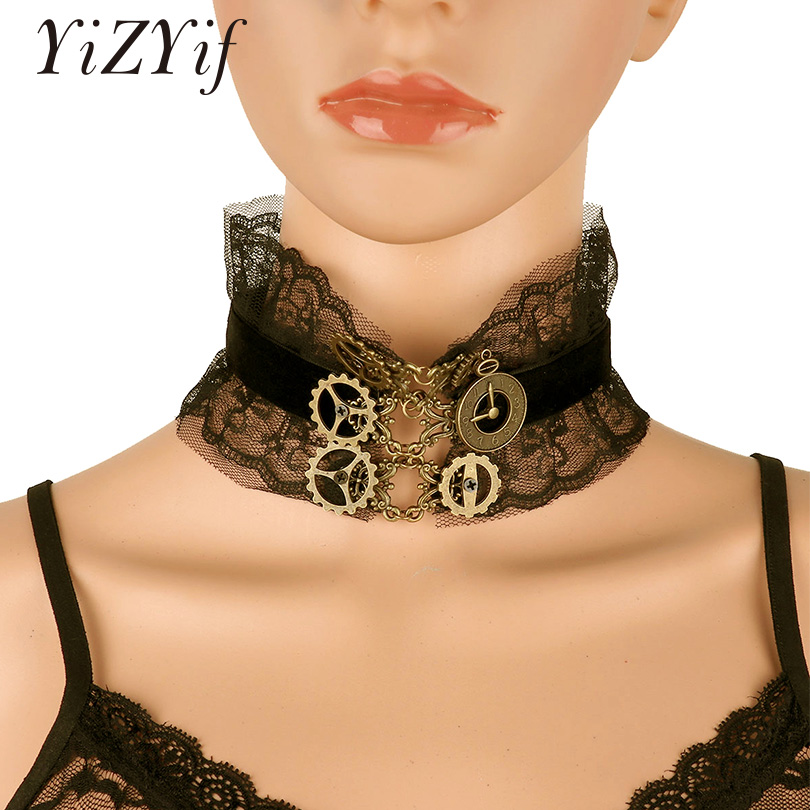 YiZYiF Women gothic Lace choker Retro Elegant Punk Style Black Lace Lolita Collar Choker Necklace Jewelry Halloween Costume