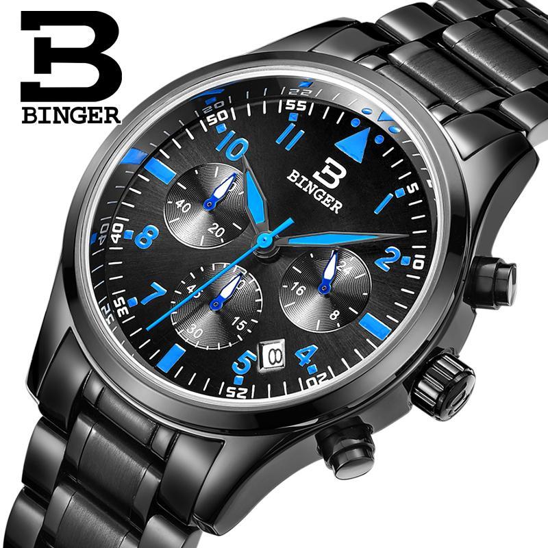 スイス深酒をする人男性の腕時計ラグジュアリーブランドクォーツ防水フルステンレススチールクロノグラフストップウォッチ腕時計 B9202 5  グループ上の 腕時計 からの クォーツ時計 の中 1