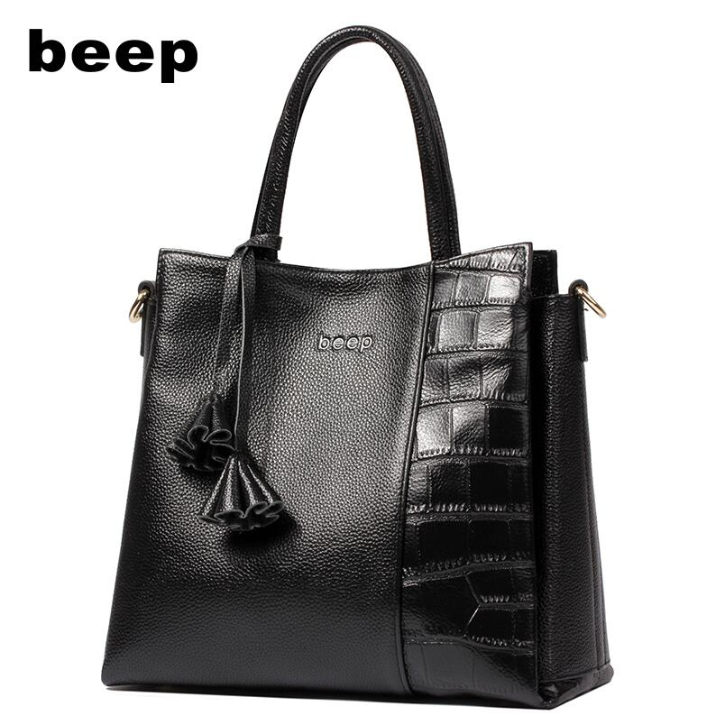 Beep Brand  Superior cowhide fashionCasual luxury Genuine Leather bag  tote women leather shoulder bag  women's bag beep beep go to sleep