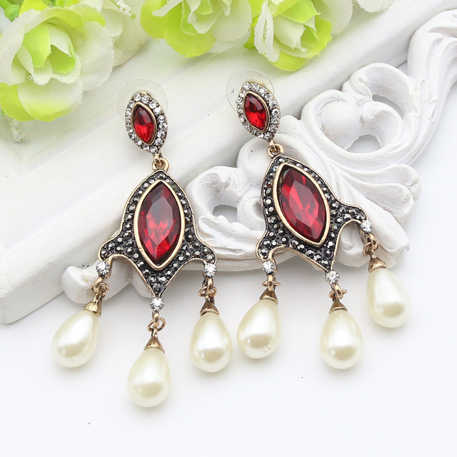 Vintage Turkish Simulated Pearl Drop Long Earring Women Antique Chandelier  Earrings India Jewelry Ladies Wedding Party - Vintage Turkish Simulated Pearl Drop Long Earring Women Antique