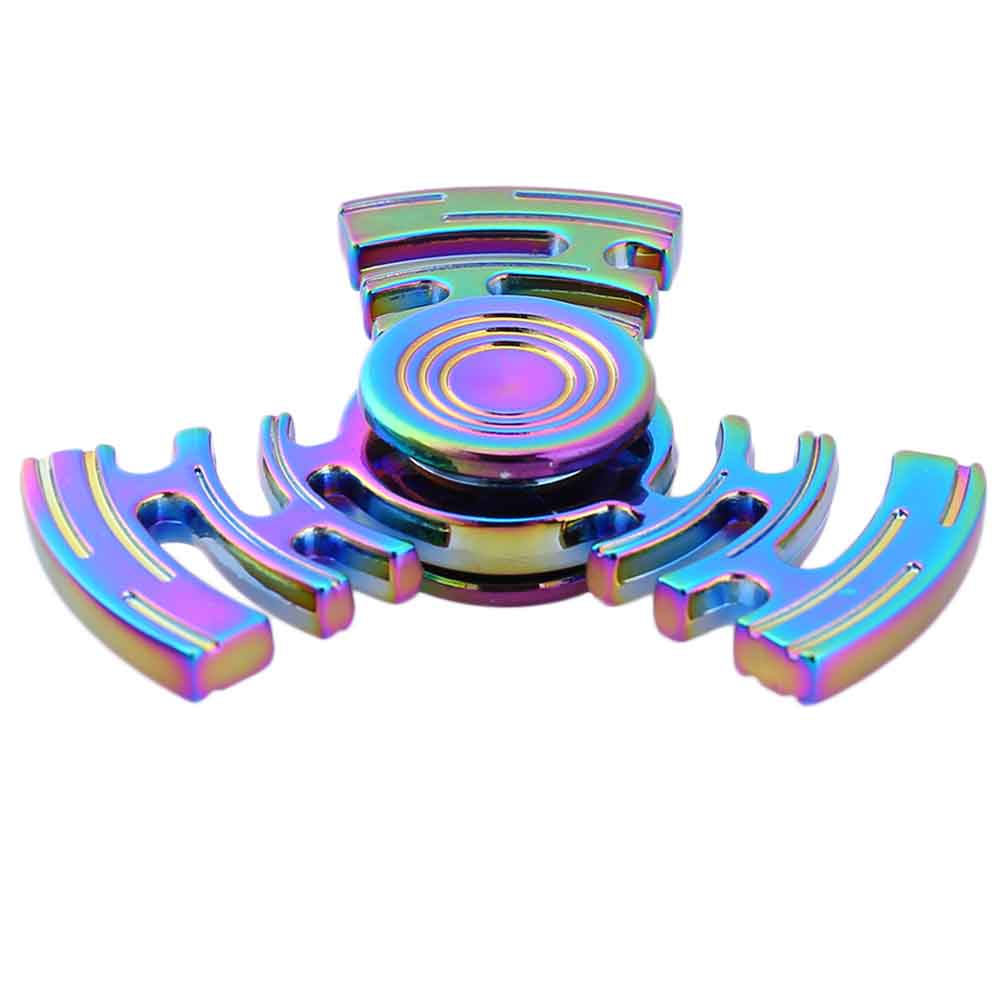 Rainbow Color EDC Toys Hand Spinner Metal Labyrinth Three Leaves Fidget Spinner Autism And ADHD Hand