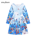 Amuybeen 2017 New Year Kids Christmas Casual Print Princess Casual Party Girls Dress Children Clothes Baby Girl Long Dresses S01