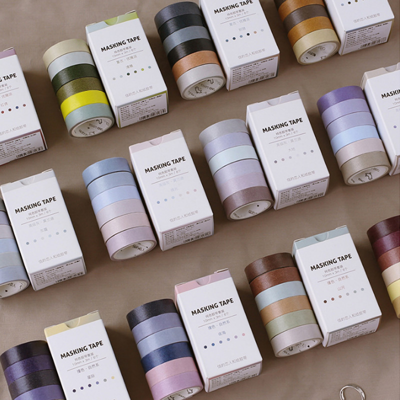 6pcs/box 10mm*3M Solid Color Suit Series Washi Tape DIY Decoration Scrapbooking Masking Tape  Tape  School Office Label Supplies
